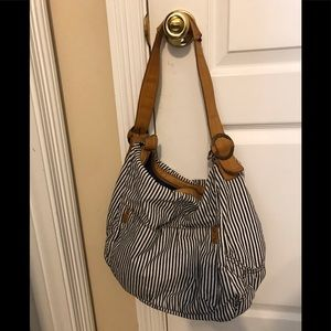 Gap Striped Canvas Tote with Leather Handles